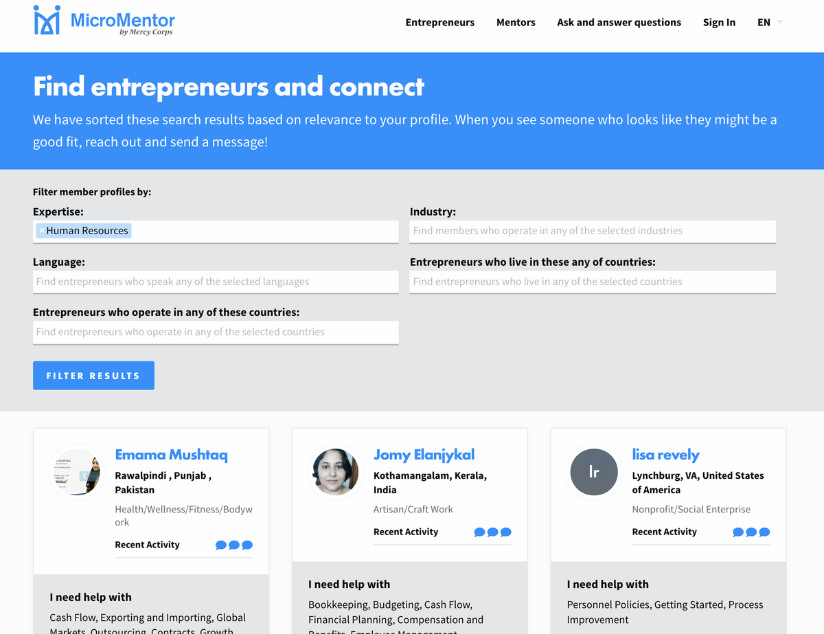 Entrepreneur Search Results