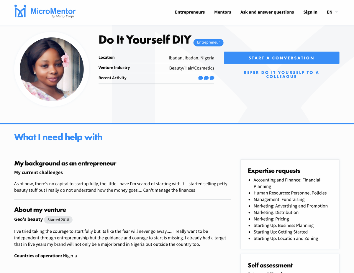 An entrepreneur profile page