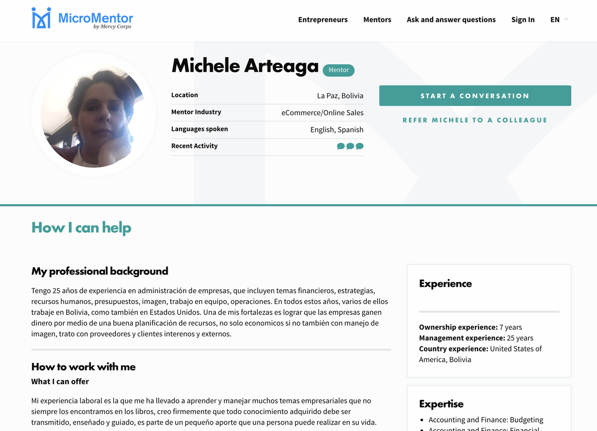 A mentor profile page