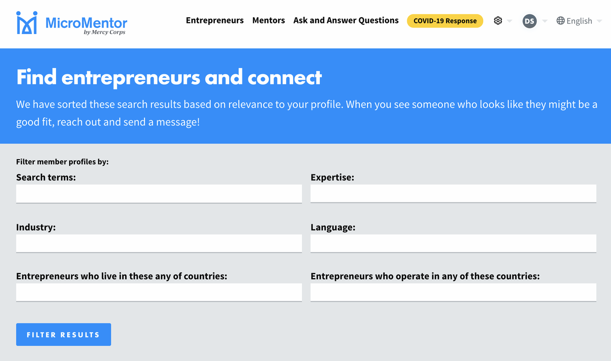 Reach out to entrepreneurs in Micromentor's business mentorship program.