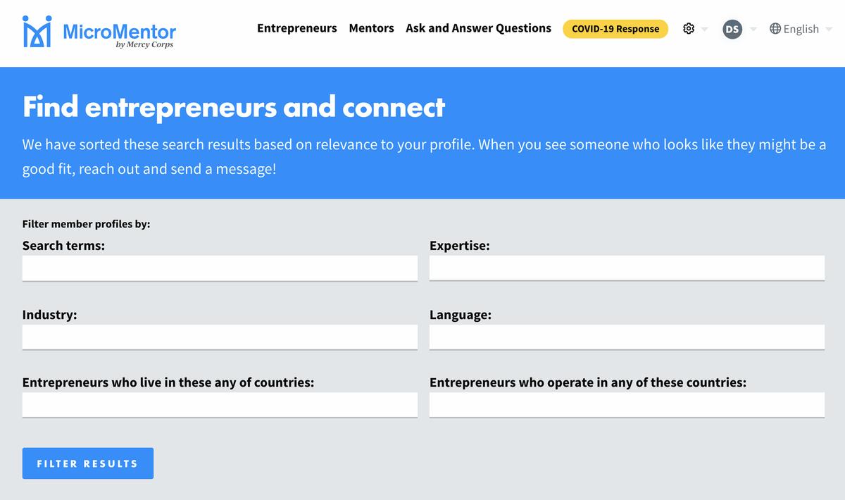 english entrepreneur search page