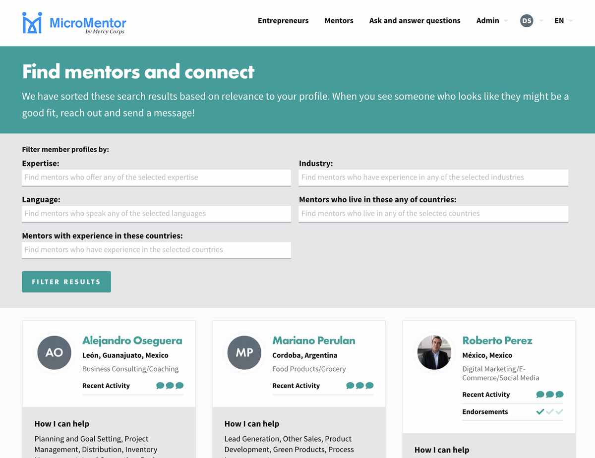 Reach out to a mentor for business on MicroMentor,  the world's largest business mentorship program.